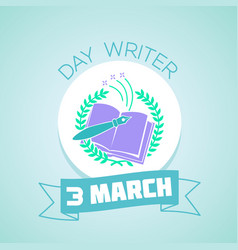 3 march day writer blue vector