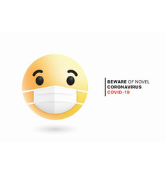 3d modern emoji with medical mouth surgical mask vector