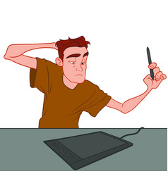 A young guy in a brown t-shirt thinks to draw a vector