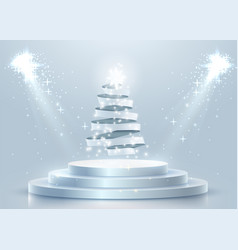 abstract round podium with christmas tree made of vector image