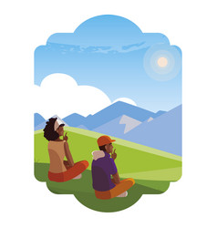 Afro couple contemplating horizon in field vector