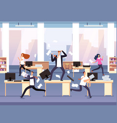 Angry boss chaos in office with employees vector
