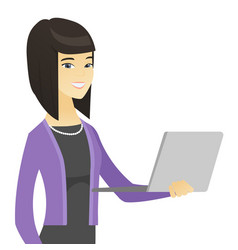 Asian business woman using laptop vector