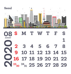 august 2020 calendar template with seoul city vector image