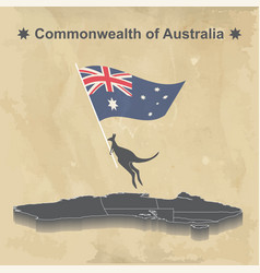 australia map with flag isolated on vintage vector image