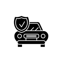 auto insurance black icon sign on isolated vector image