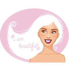 Beautiful girl with white hair vector