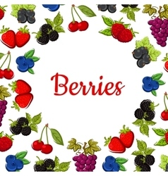 Berry and fruit poster Fruity frame design vector
