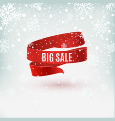 big sale red ribbon on winter background vector image
