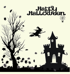 black and white halloween landscape vector image