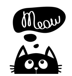 Black cat looking up to meow lettering text think vector