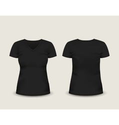 Black V-neck t-shirt template vector