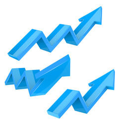 Blue indication arrows up rising financial signs vector