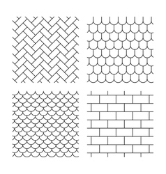 Bricks tile roof and paving stone textures vector