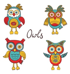 Bright owls set vector