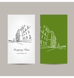 Business card design with cityscape sketch vector