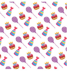 Cake candles with hats and balloons background vector