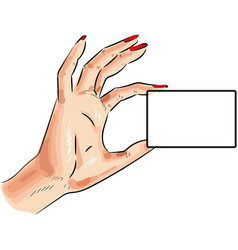 card in woman hand icon isolated on white vector image