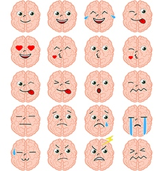 Cartoon brain emoji set vector image