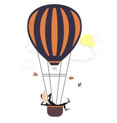 Cartoon man flies on the air balloon isolated vector