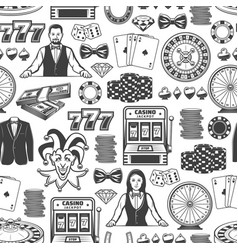 casino poker jackpot gambling seamless pattern vector image