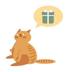 Cat thinking about gifts vector