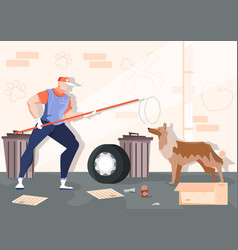catching homeless animals composition vector image