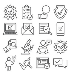 check and quality line icons on white background vector image