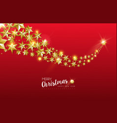 Christmas card gold star design on red background vector