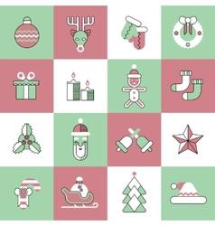 Christmas icons set flat line vector