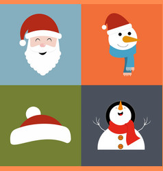 christmas set of santa clause vector image