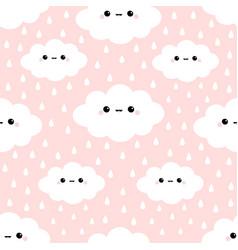 Cloud in sky rain drop seamless pattern cute vector