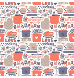 Cooking seamless pattern retro style with kitchen vector