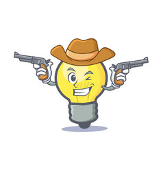 Cowboy light bulb character cartoon vector