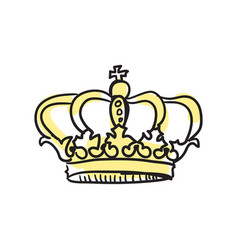 crown queen hand drawn isolated icon vector image