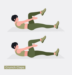 Crunch claps exercise vector