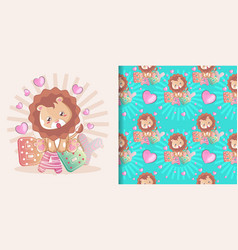 cute balion cartoon and seamless pattern set vector image