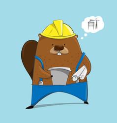 cute beaver in engineer character cartoon vector image