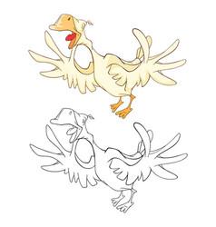 Cute cockerel coloring book vector