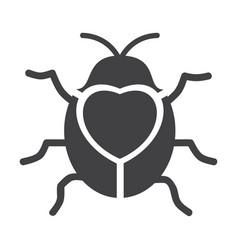 Cute flying ladybug heart shape with bug vector