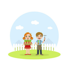 cute kids working in garden boy and girl caring vector image