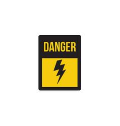 danger banner with lightning strike icon vector image