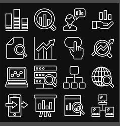 Data analysis icons set on black background line vector