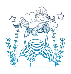 degraded outline girl and unicorn in the rainbow vector image