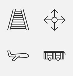 Delivery icons set collection of vehicle road vector