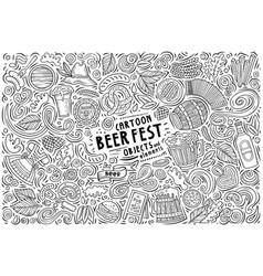 Doodle cartoon set beer fest objects vector
