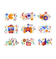 Entertainment symbols set playing cards music vector