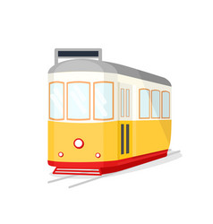 Famous vintage yellow 28 tram in lisbon portugal vector