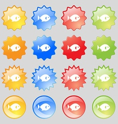 fish icon sign Big set of 16 colorful modern vector image