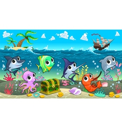 Funny marine animals in sea with galleon vector